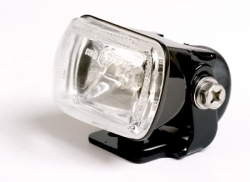 micro fog light, squared, H3 55W, black, E-mark
