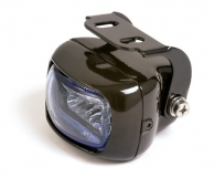 fog light, squared black housing, blue lens,E-mark