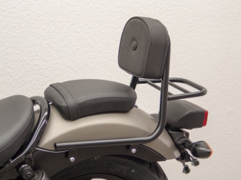 Sissybar with pad and luggage rack, black - Honda CMX 500 Rebel