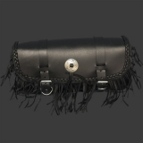 Large Leather Tool Pouch with Concho and Fringe
