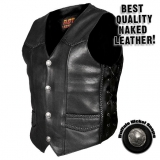 Heavy Weight Leather Vest with Braided Detail