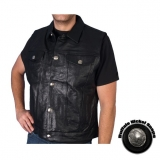 Men's Heavyweight Black Leather Vest